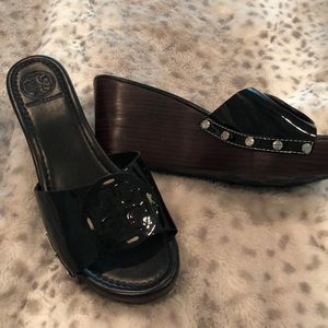 Tory Burch patent leather wedge